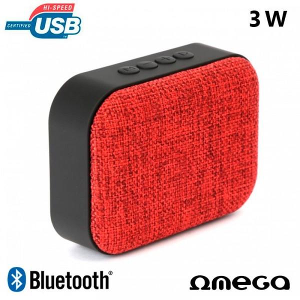 Altavoz Bluetooth Rectangular Omega Tela Rojo