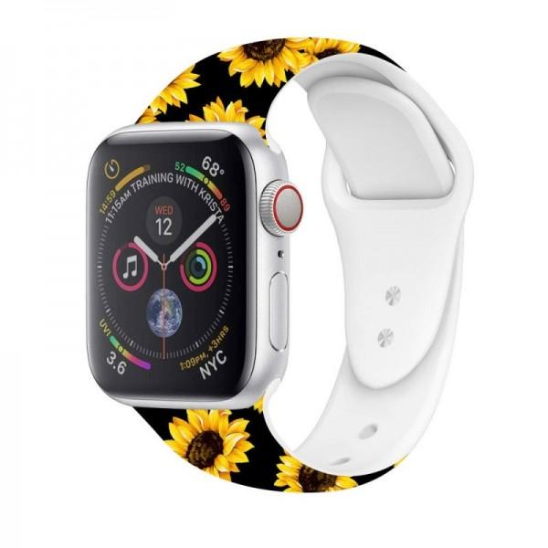Correa COOL para Apple Watch Series 1 / 2 / 3 / 4 / 5 / 6 / 7 / SE (38 / 40 mm) Estampado Girasoles